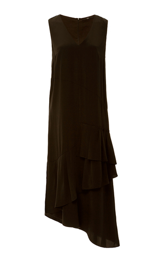 Medium tibi black silk crepe de chine ruffle dress