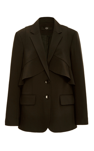 Medium tibi black tropical wool layered ruffle blazer