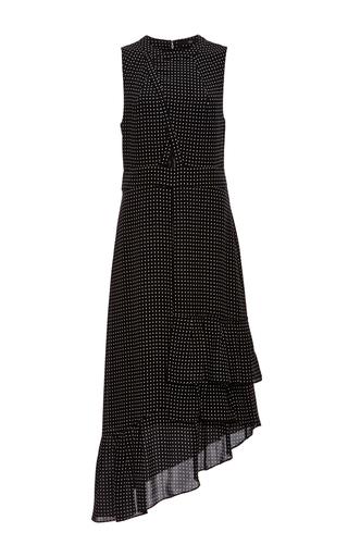 Medium tibi black estrella cut out ruffle dress