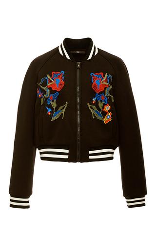 Medium tibi black marisol embroidered applique bomber