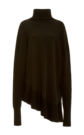 Medium tibi black merino wool flared pullover