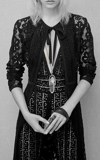 Medium elie saab black lace duster coat