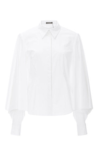 Medium zac posen white oversized sleeve button up blouse
