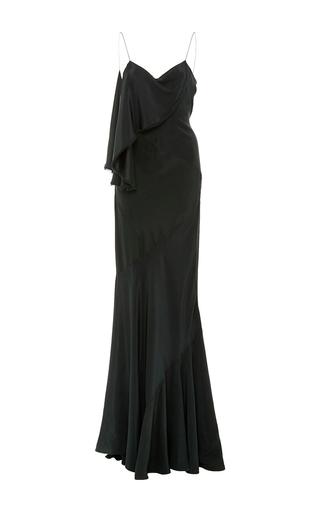 Medium zac posen green silk charmeuse gown