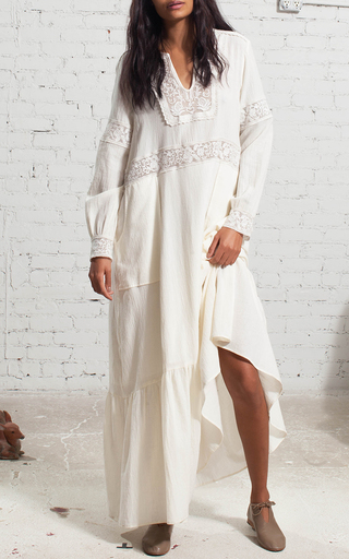 Cream Embroidered Long Sleeve Dress by SEA Now Available on Moda Operandi