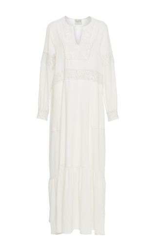 Medium sea ivory cream embroidered long sleeve dress