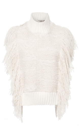 Medium sea ivory fringed sleeveless top