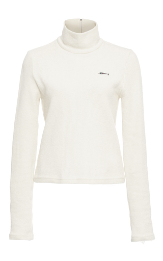 Medium sea ivory ivory ribbed turtleneck top