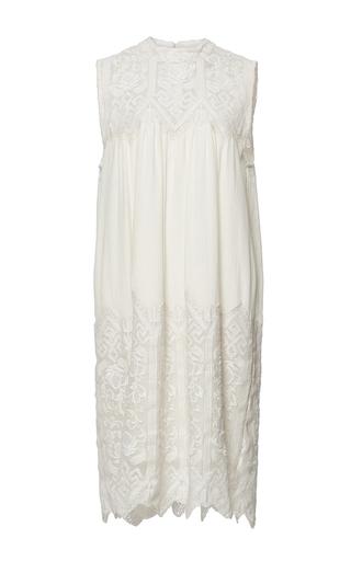 Medium sea ivory cream embroidered sleeveless dress