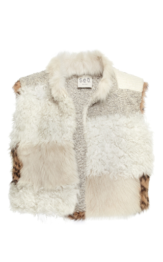 Medium sea tan patchwork fur vest