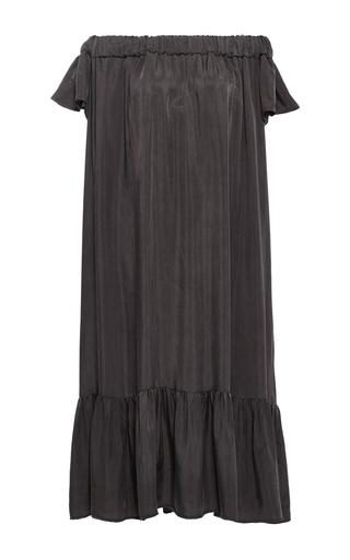 Medium sea brown washed satin off the shoulder dress