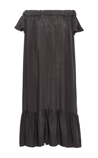 Medium sea brown washed satin off the shoulder dress