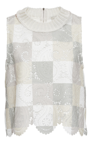 Medium sea ivory patchwork lace top