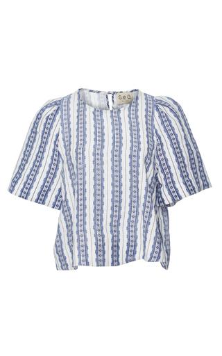 Medium sea blue linen t shirt
