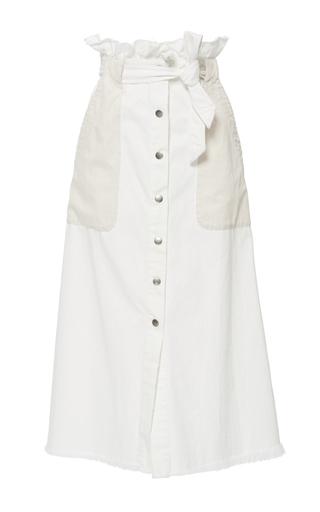 Medium sea ivory contrast denim skirt