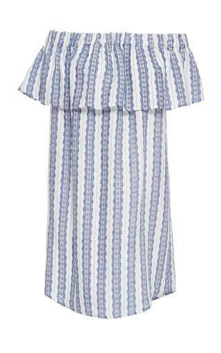 Medium sea blue off the shoulder linen dress