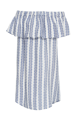 Medium sea blue off the shoulder linen dress