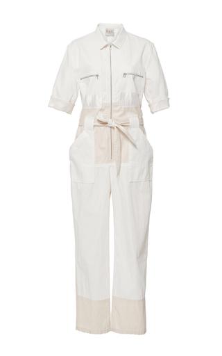 Medium sea ivory contrast denim jumpsuit