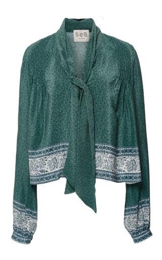 Medium sea green silk long sleeve tie blouse