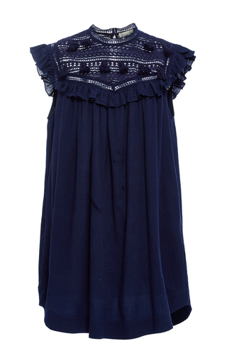 Medium sea navy tassel lace sleeveless dress