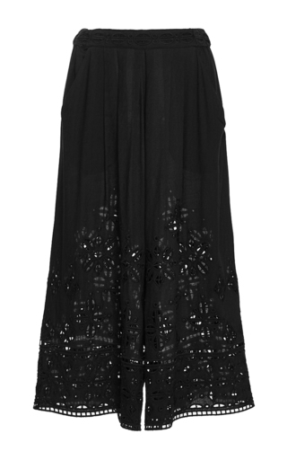 Medium sea black diamond eyelet culottes