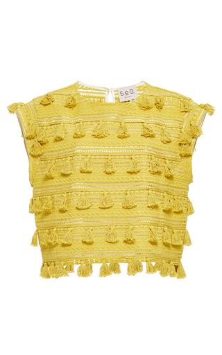 Medium sea yellow sleeveless tassel top 2
