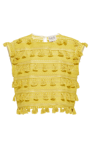 Medium sea yellow sleeveless tassel top 2