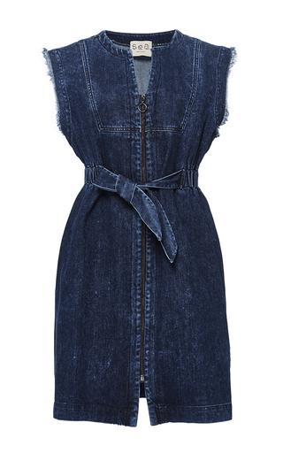 Medium sea blue tied denim dress