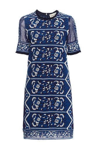 Medium sea blue embroidered t shirt dress