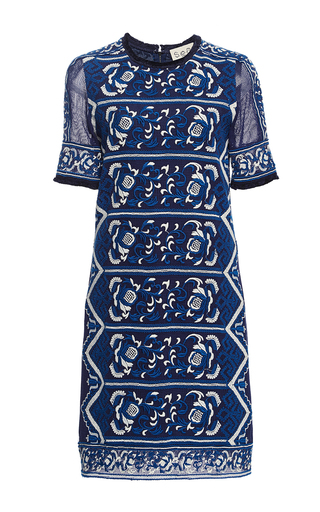Medium sea blue embroidered t shirt dress