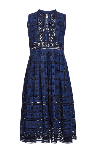 Medium sea navy diamond eyelet midi dress
