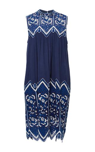 Medium sea blue embroidered sleeveless dress
