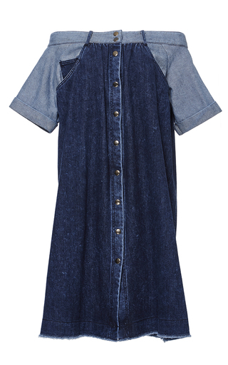 Medium sea blue acid washed denim off the shoulder dress