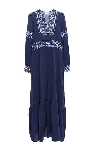 Medium sea blue blue embroidered long sleeve dress
