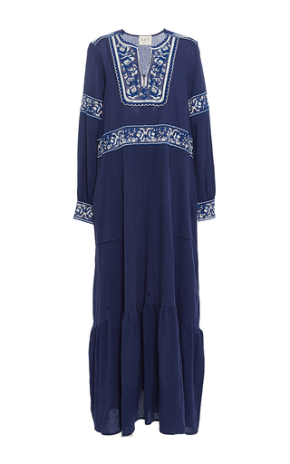 Medium sea blue blue embroidered long sleeve dress