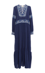 Blue Embroidered Long Sleeve Dress by SEA Now Available on Moda Operandi