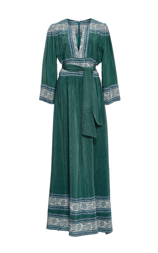 Medium sea green silk sabine border long dress