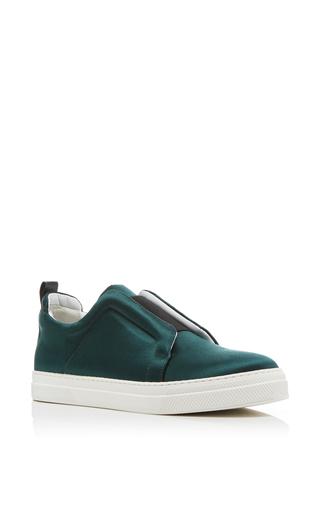 Medium pierre hardy green satin slip on sneakers