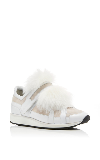 Medium pierre hardy white fox fur sneakers