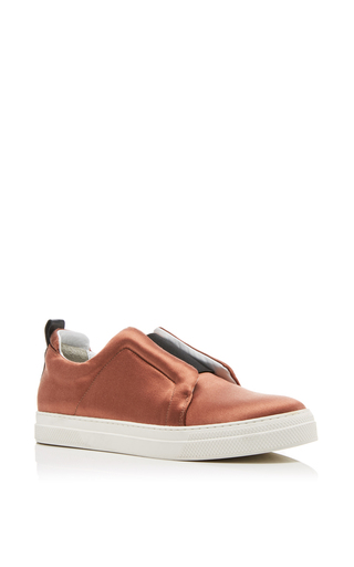 Medium pierre hardy bronze satin slip on sneakers  2