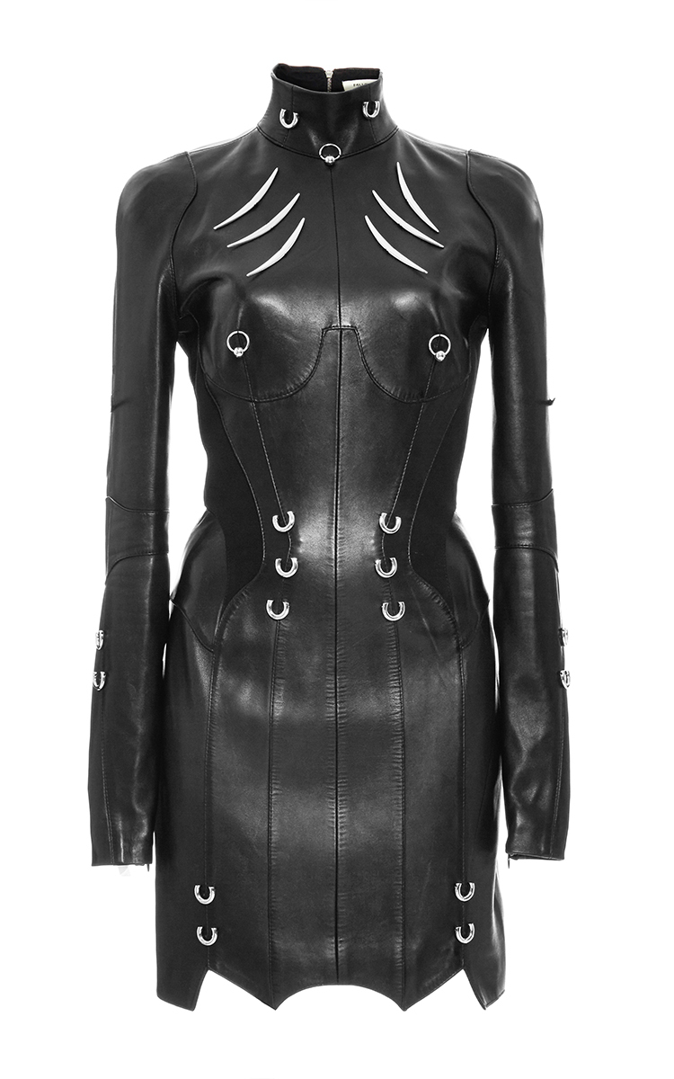 Long Sleeve Pierced Leather Dress By Mugler Moda Operandi