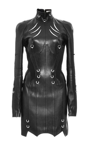 Long Sleeve Pierced Leather Dress by MUGLER - Moda Operandi