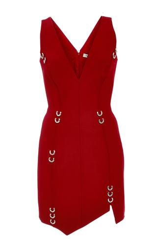 Medium mugler red pierced asymmetric fitted wool mini dress
