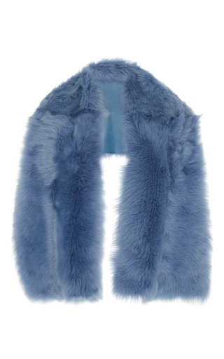 Medium rochas light blue medium blue lamb shearling stole