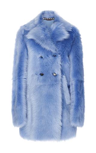 Medium rochas light blue medium blue double breasted lamb shearling coat