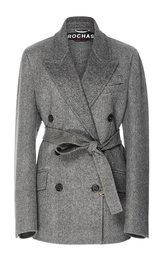 Medium rochas dark grey double breasted wool coat