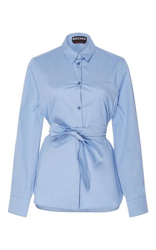 Medium rochas light blue silk button up shirt with sash