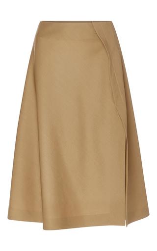 Medium rochas tan wool a line skirt