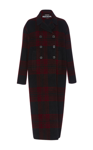 Medium rochas burgundy double breasted checked coat