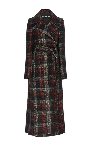 Medium rochas plaid checked alpaca wool coat